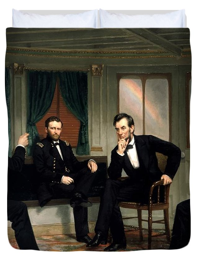 Civil War Duvet Cover featuring the painting Civil War Union Leaders -- The Peacemakers by War Is Hell Store