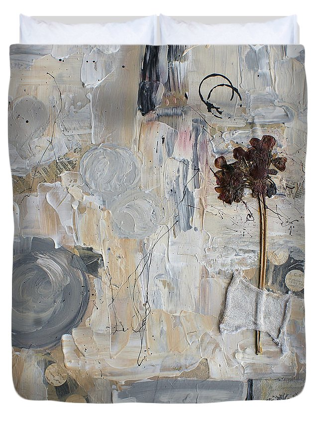 Collage Duvet Cover featuring the painting Clafoutis D Emotions by Aimelle