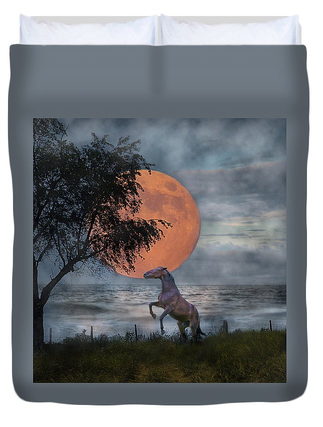 Horse Duvet Cover featuring the digital art Claiming The Moon by Betsy Knapp