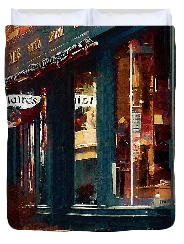 Architecture Duvet Cover featuring the painting Claire's On College Street by RC DeWinter