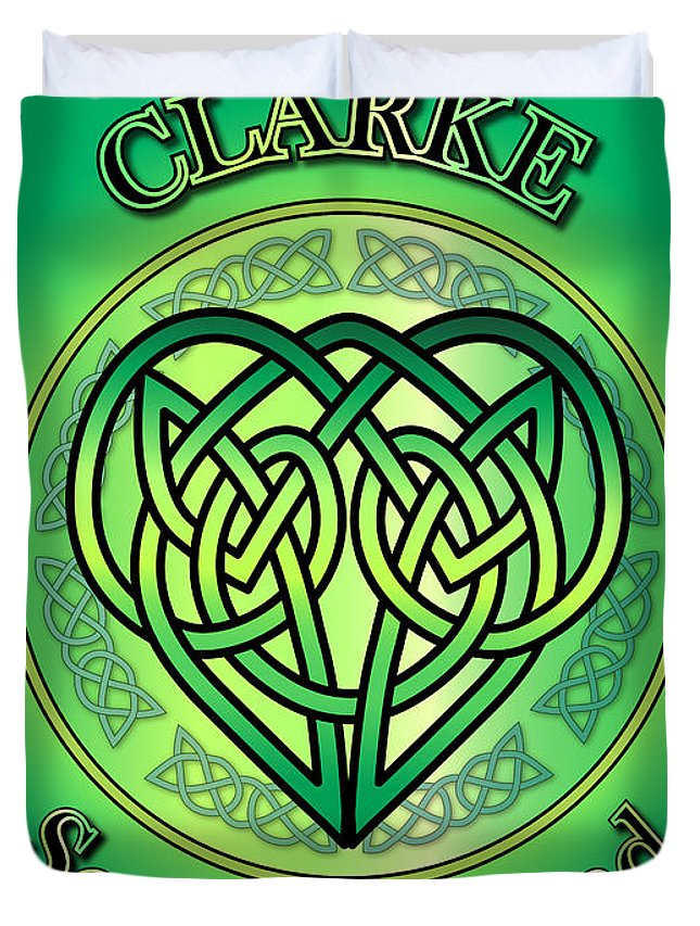 Clarke Duvet Cover featuring the digital art Clarke Soul Of Ireland by Ireland Calling