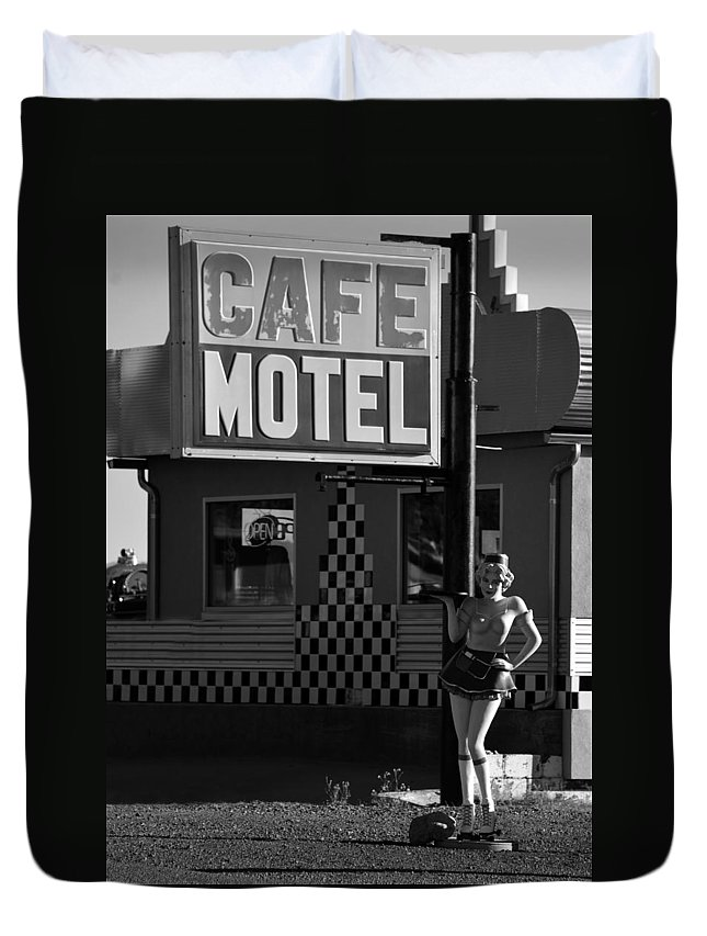 1950s Duvet Cover featuring the photograph Classic 50s Motel Cafe by David Lee Thompson
