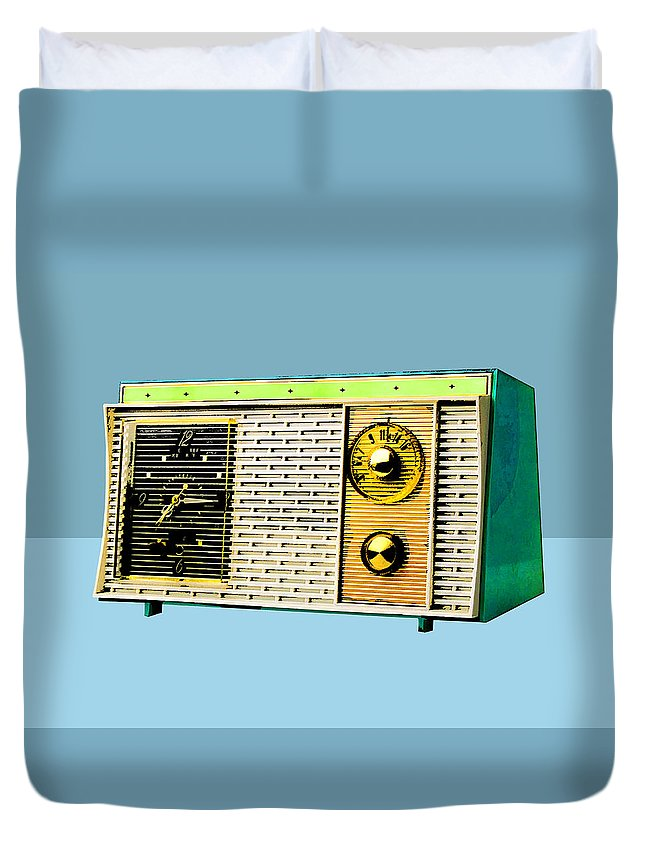 Clock Radio Duvet Cover featuring the mixed media Classic Clock Radio by Dominic Piperata