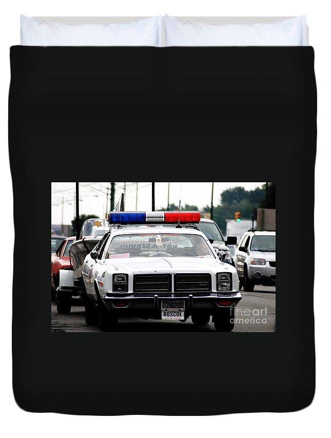 Classic Cop Car Duvet Cover featuring the photograph Classic Cop Car by Optical Playground By MP Ray