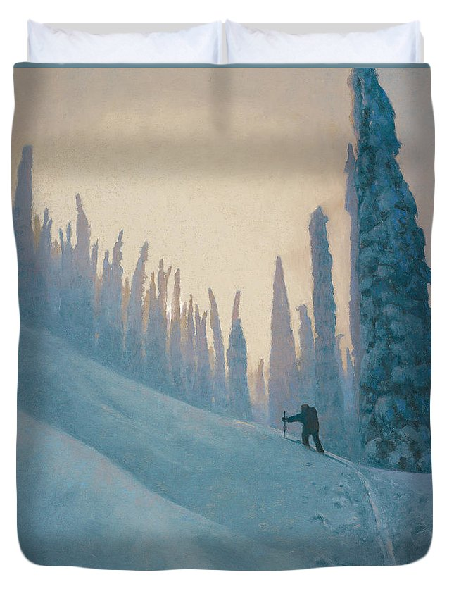 Ski Duvet Cover featuring the painting Classic Kootenay by Drew Gibson