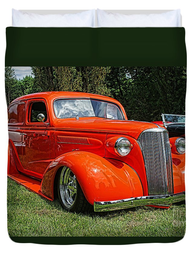 Cars Duvet Cover featuring the photograph Classic Orange by Randy Harris