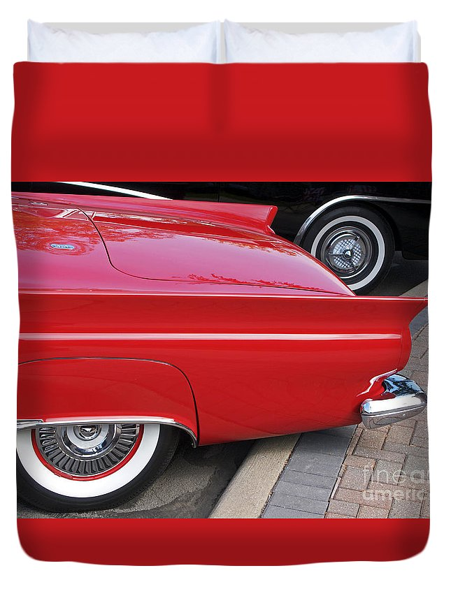 Classic Car Duvet Cover featuring the photograph Classic Red And Black by Ann Horn