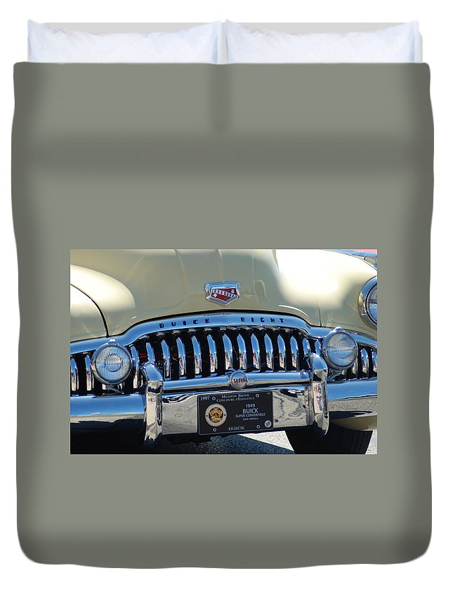 Classic Cars Duvet Cover featuring the photograph Classic Yellow 49' Buick Eight by Optical Playground By MP Ray