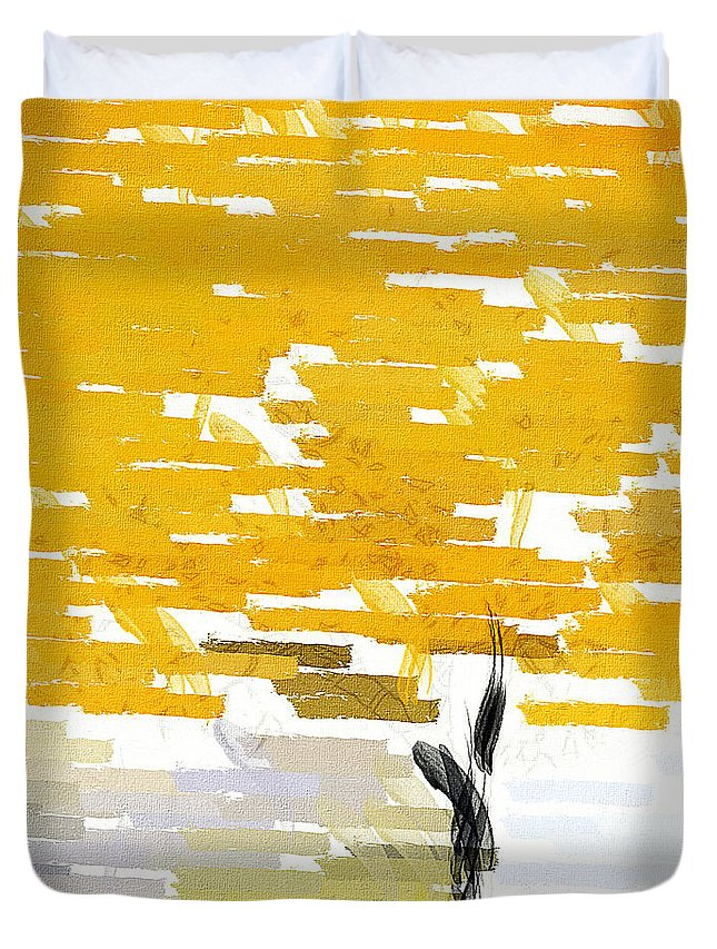 Yellow Duvet Cover featuring the painting Classy Yellow Tree by Lourry Legarde