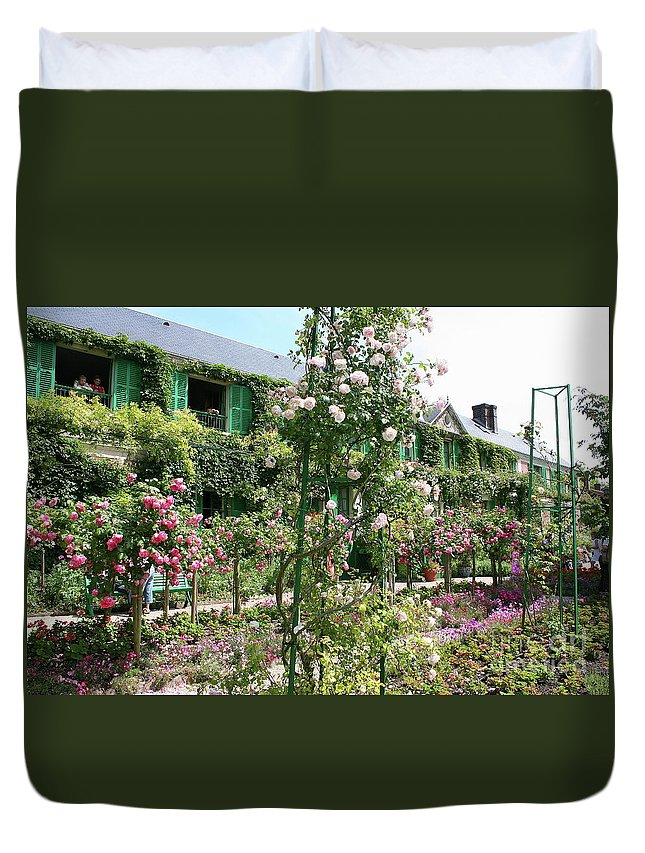 House Duvet Cover featuring the photograph Claude Monets House - Giverney by Christiane Schulze Art And Photography