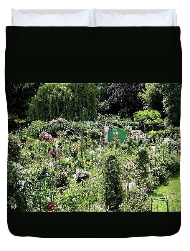 Claude Monet Duvet Cover featuring the photograph Claude Mounets Green Garden Gate by Christiane Schulze Art And Photography