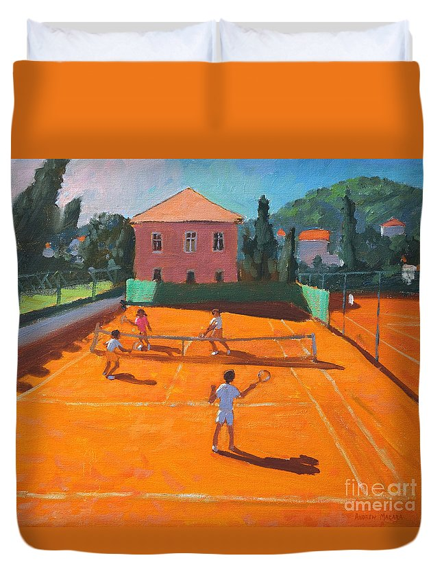 Tennis Duvet Cover featuring the painting Clay Court Tennis by Andrew Macara