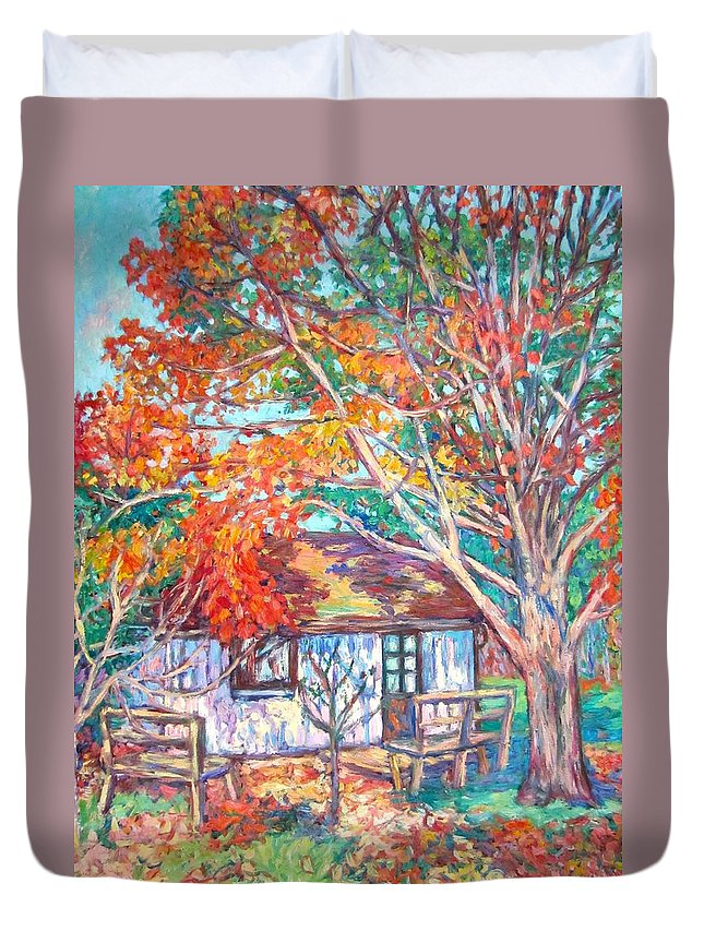 Claytor Lake Duvet Cover featuring the painting Claytor Lake Cabin in Fall by Kendall Kessler