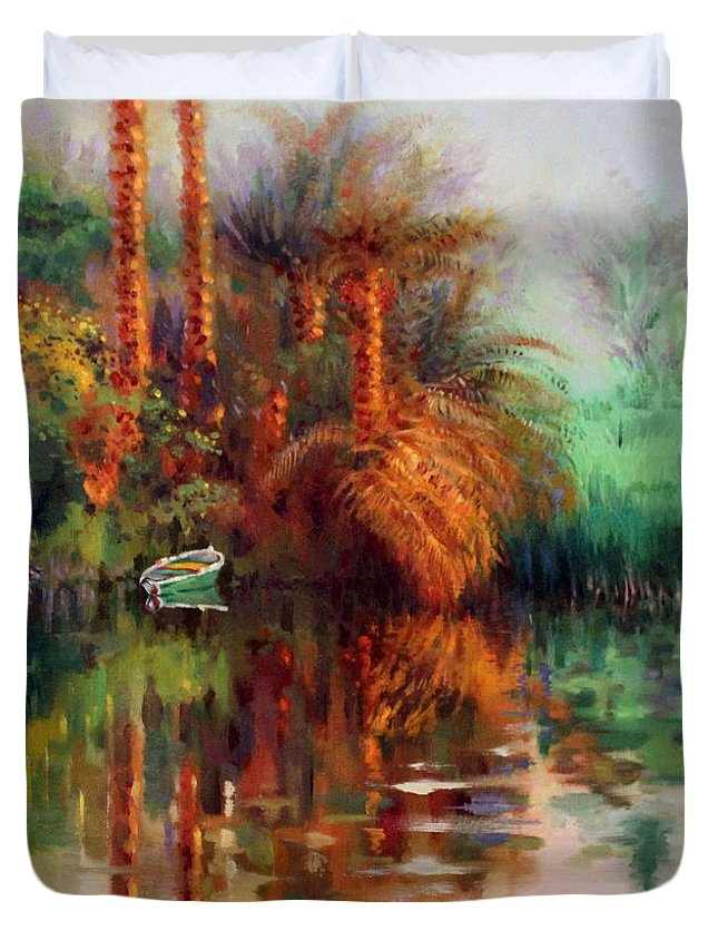 Boat Duvet Cover featuring the painting Clear by Ahmed Bayomi