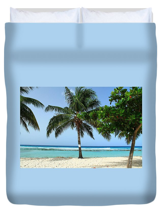 Barbados Duvet Cover featuring the photograph Clear Blue Ocean by Catie Canetti