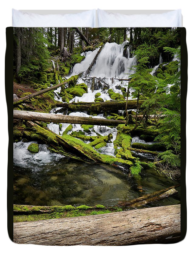 Cascades Duvet Cover featuring the photograph Clearwater Falls by Greg Nyquist