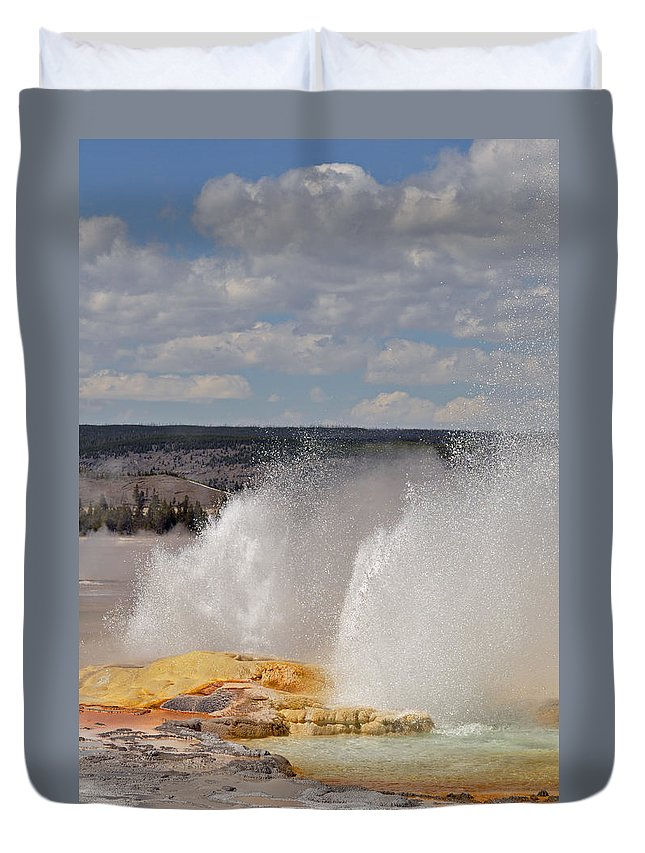 Yellowstone Duvet Cover featuring the photograph Clepsydra Geyser by Bruce Gourley