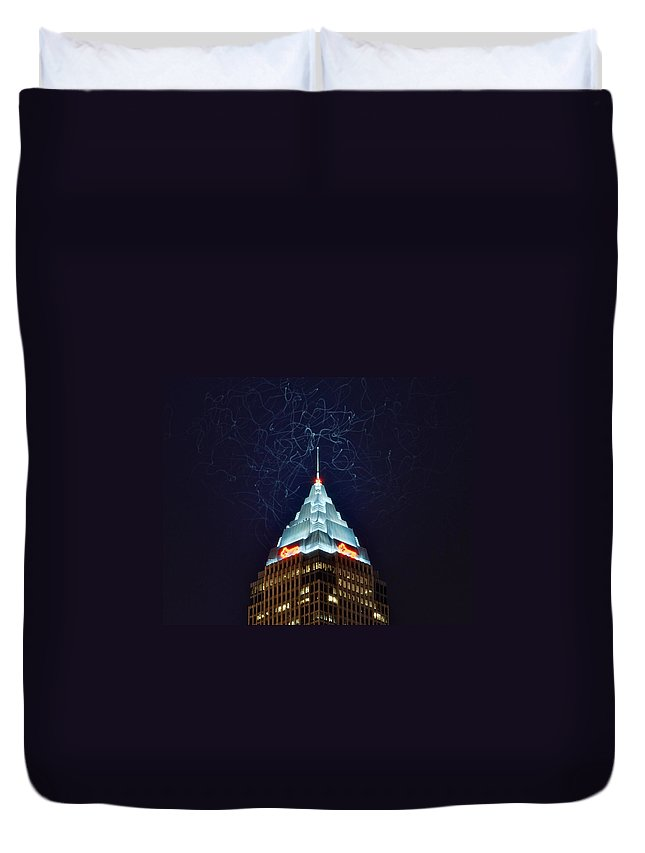 Cleveland Duvet Cover featuring the photograph Cleveland Electrified by Frozen in Time Fine Art Photography
