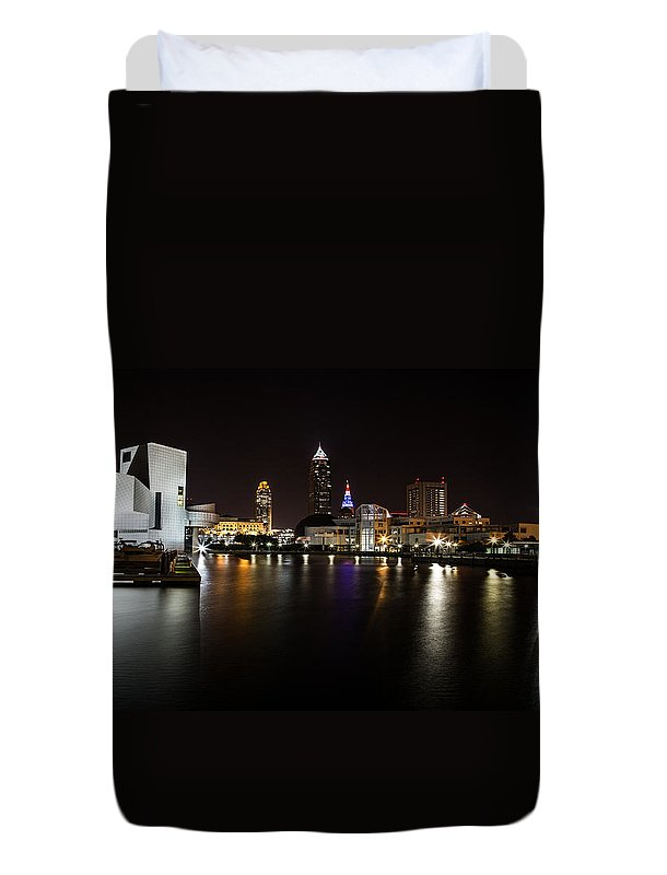 Cleveland Lakefront Nightscape Duvet Cover featuring the photograph Cleveland Lakefront Nightscape by Dale Kincaid