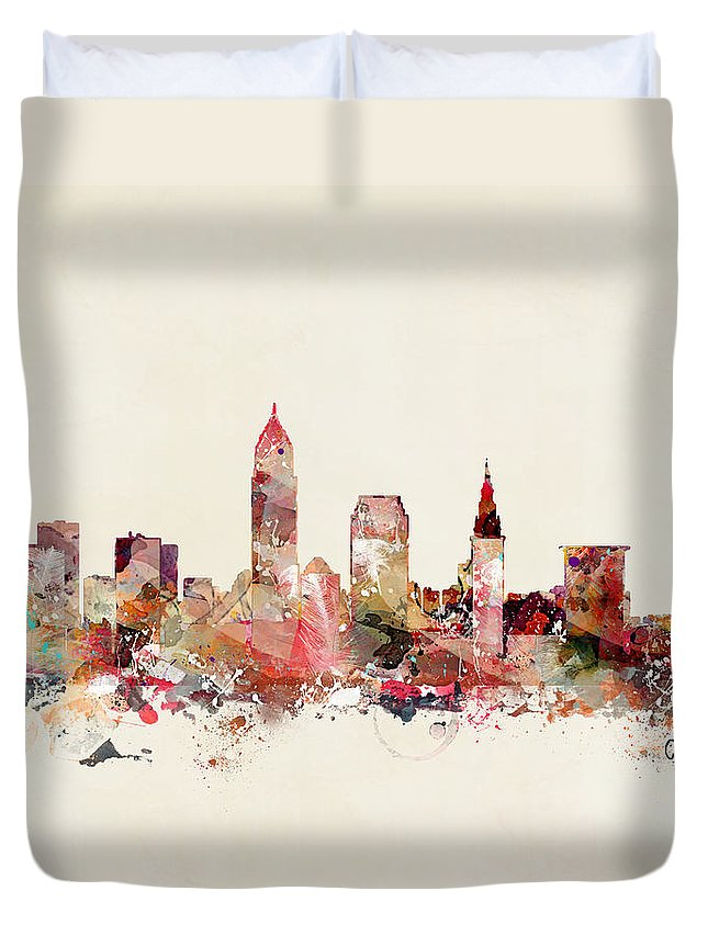 Cleveland Ohio Skyline Duvet Cover featuring the painting Cleveland Ohio by Bri Buckley