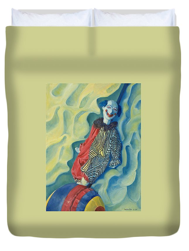 Clown Duvet Cover featuring the painting Clever by Dario Pinto