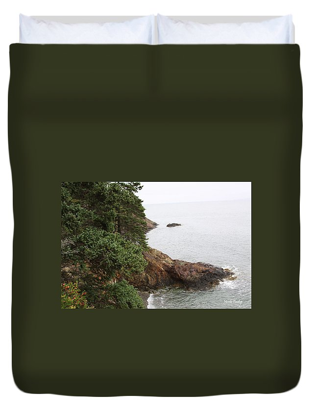 Water Duvet Cover featuring the photograph Cliff by Nicole Tredup