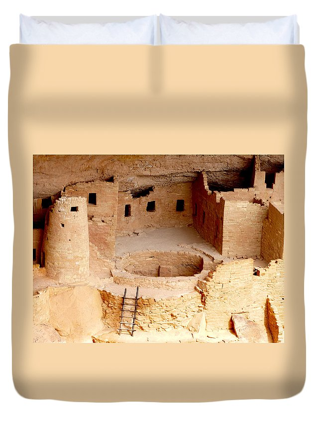 Cliff Palace Duvet Cover featuring the photograph Cliff Palace Closeup by Marcia Socolik