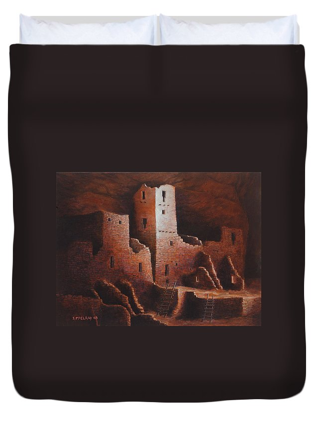 Anasazi Duvet Cover featuring the painting Cliff Palace by Jerry McElroy
