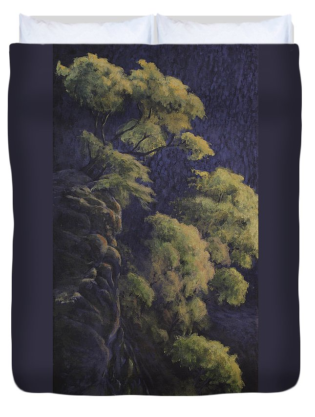 Acrylic Duvet Cover featuring the painting Cliffhangers by Michael Beckett