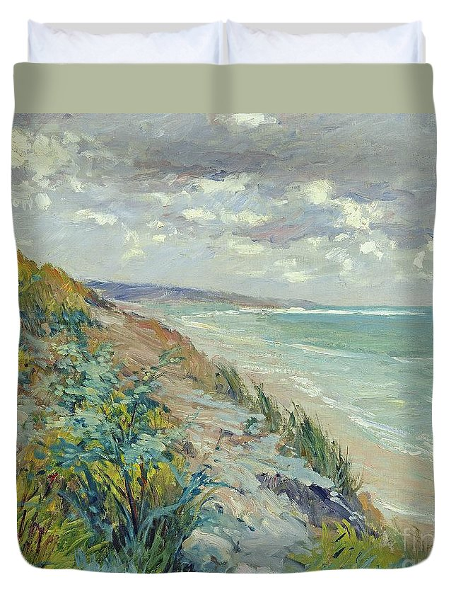 Beach Duvet Cover featuring the painting Cliffs By The Sea At Trouville by Gustave Caillebotte