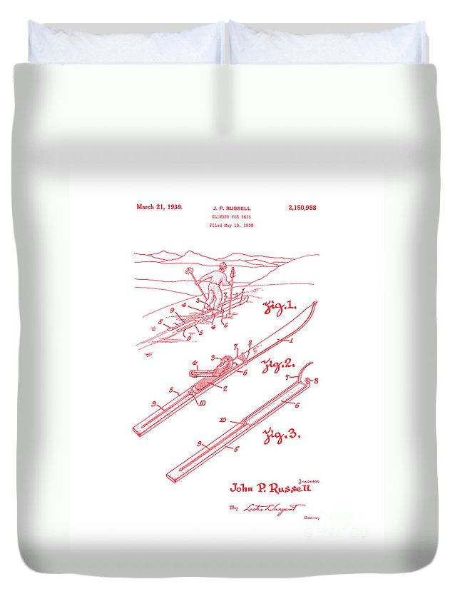 Snow Duvet Cover featuring the digital art Climber For Skis 1939 Russell Patent Art Red On White by Lesa Fine