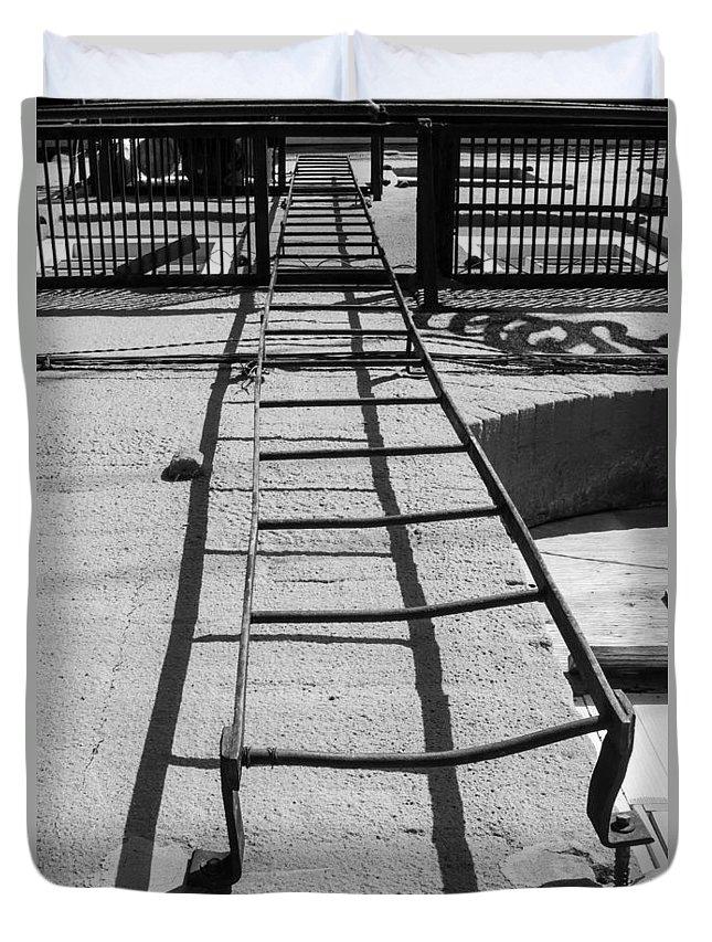 Ladder Duvet Cover featuring the photograph Climbing The Walls by Deb Buchanan