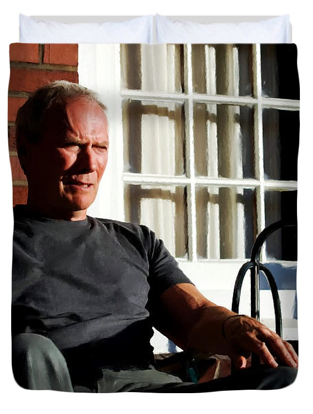 Clint Eastwood Duvet Cover featuring the digital art Clint Eastwood @ Grand Torino- 2 by Gabriel T Toro