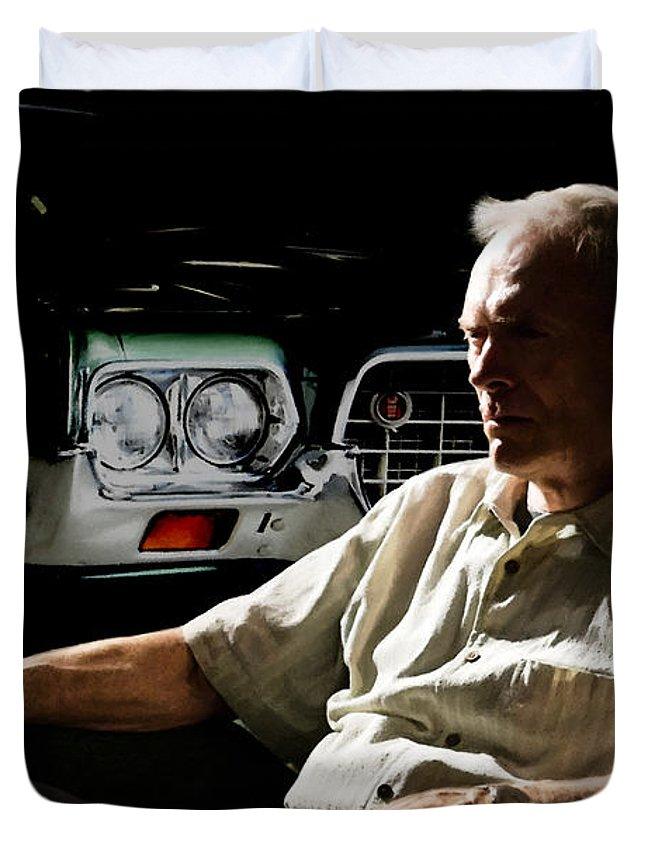 Clint Eastwood Duvet Cover featuring the digital art Clint Eastwood as Walt Kowalski in the film Grand Torino - Clint Eastwood - 2008 by Gabriel T Toro