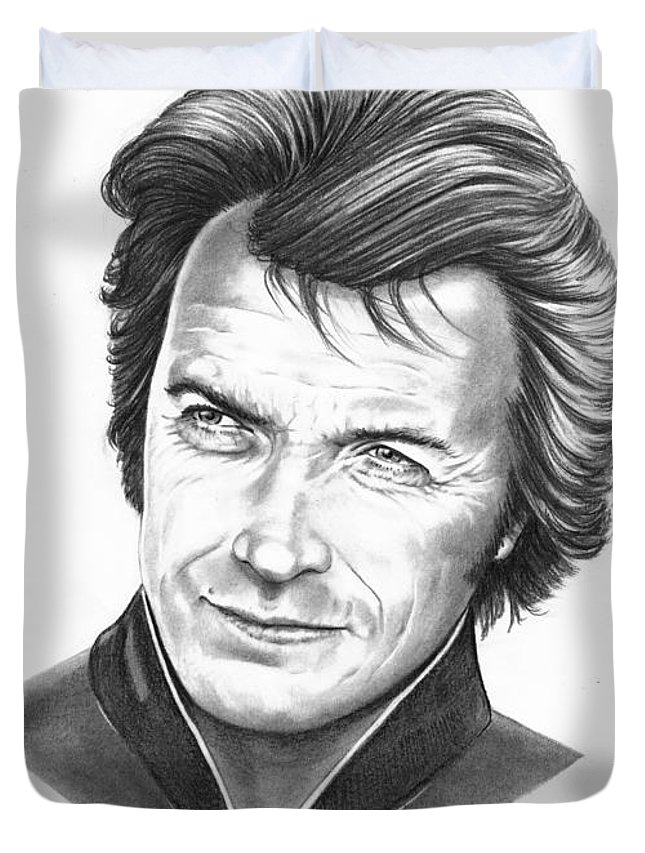Portrait Duvet Cover featuring the drawing Clint Eastwood by Murphy Elliott