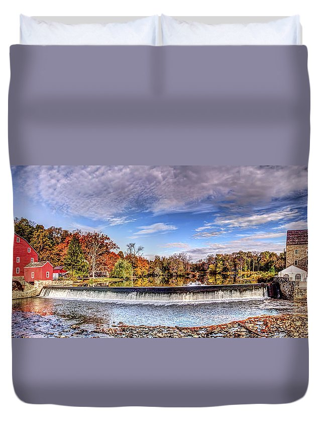 Recent Duvet Cover featuring the digital art Clinton Nj Historic Red Mill Pano by Geraldine Scull