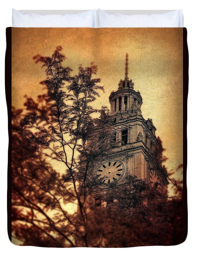 Clock Duvet Cover featuring the photograph Clock Tower by Jill Battaglia