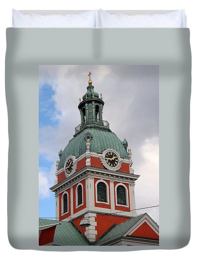 Clock Tower Duvet Cover featuring the photograph Clock Tower by Richard Rosenshein