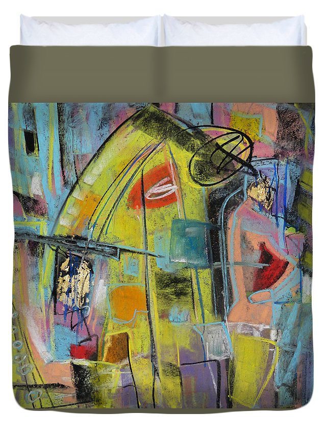 Pastel Duvet Cover featuring the painting Clockhouse by Katie Black