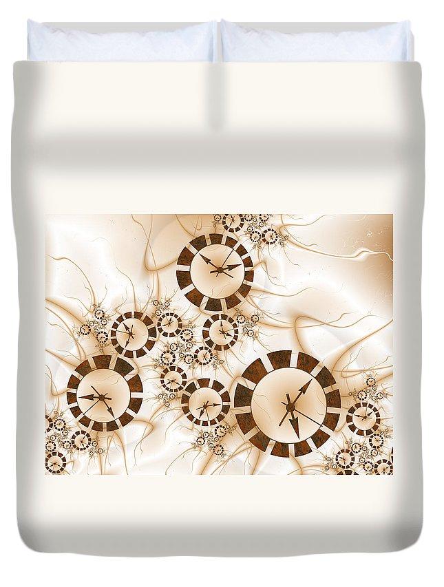 Abstract Duvet Cover featuring the digital art Clocks by Gabiw Art