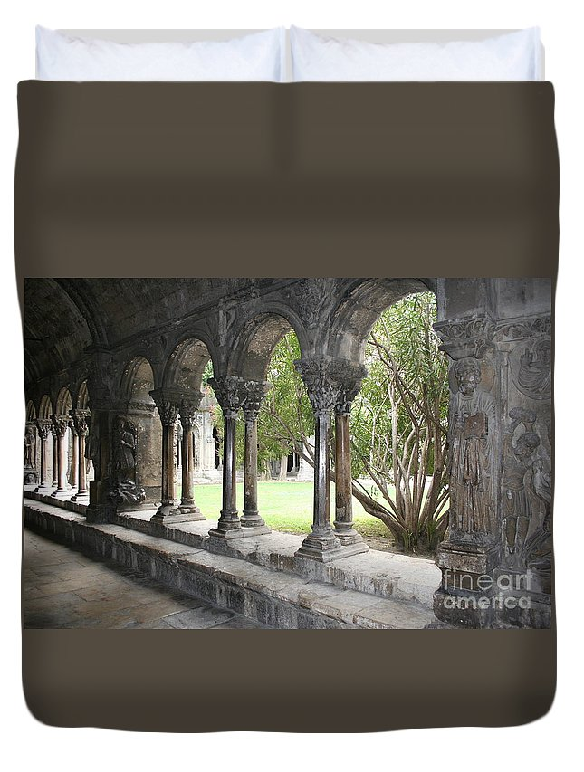 Cloister Duvet Cover featuring the photograph Cloister Saint Trophimus by Christiane Schulze Art And Photography