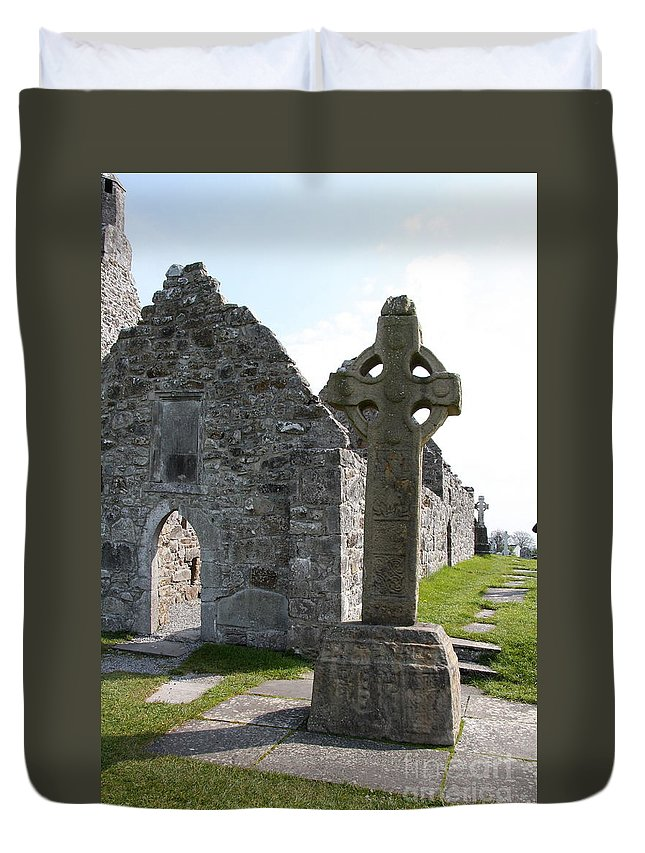 Clonmacnoise Cathedral Duvet Cover featuring the photograph Clonmacnoise Cathedral And High Cross Ireland by Christiane Schulze Art And Photography