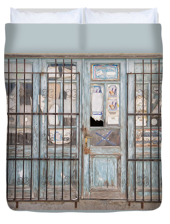 Abandoned Duvet Cover featuring the digital art Closed Down Shop by Roy Pedersen