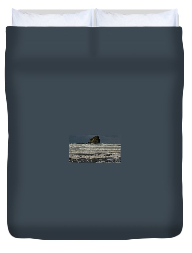 Waves Duvet Cover featuring the photograph Close Haystack Rock by Susan Garren