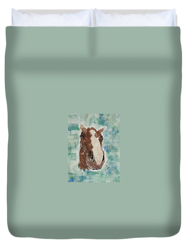 Horse Duvet Cover featuring the mixed media Close Up by Cori Solomon