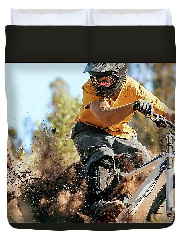 Headwear Duvet Cover featuring the photograph Close Up Of A Mountain Biker Ripping by Daniel Milchev