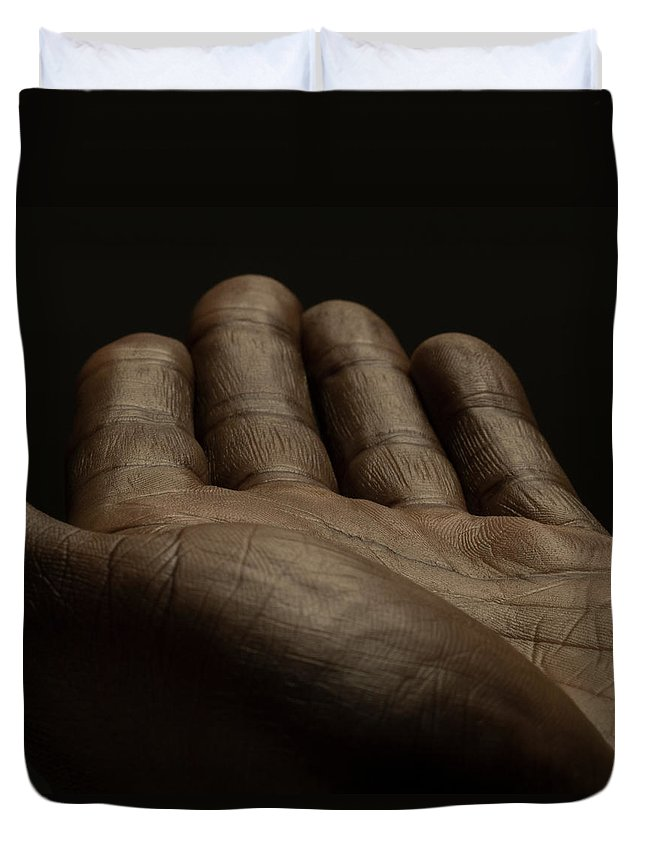 Empty Duvet Cover featuring the photograph Close Up Of An Open Male Hands, Dark by Jonathan Knowles