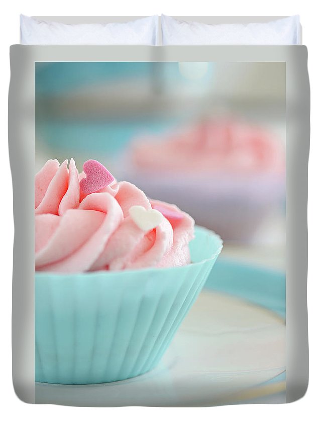 Sugar Duvet Cover featuring the photograph Close Up Of Cupcakes by Dhmig Photography