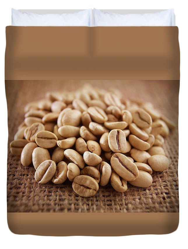 Heap Duvet Cover featuring the photograph Close Up Of Raw Coffee Beans by Adam Gault