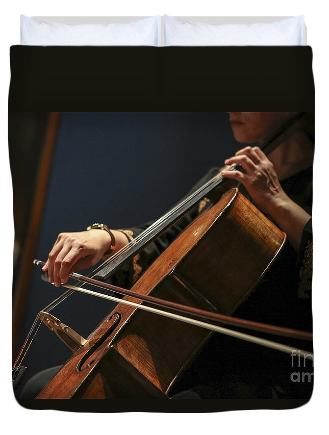 Cellist Duvet Cover featuring the photograph Close Up Of The Cellist's Hands by Oren Shalev